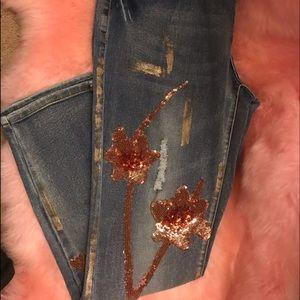 NWT Boston Proper Sequins Floral Embellished Jeans